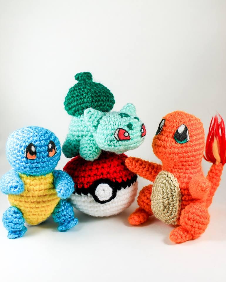 Squirtle, Charmander, Bulbasaur Crochet Amigurumi