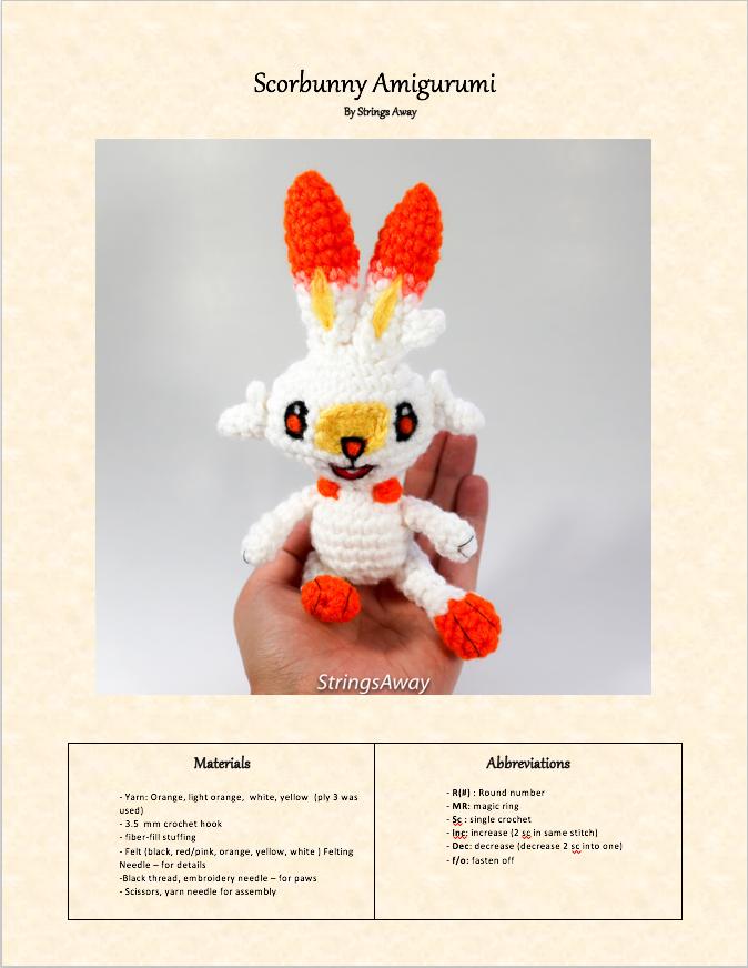 free pokemon amigurumi pattern Scorbunny