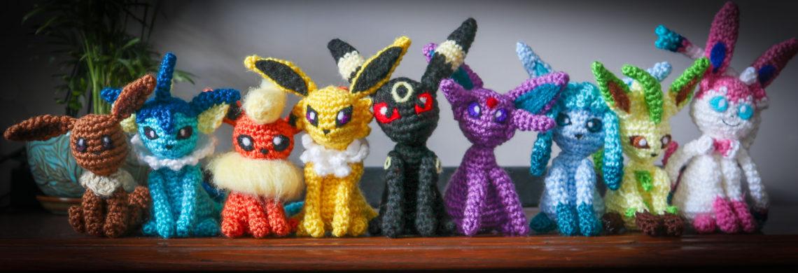Handmade Amigurumi of all 9 Eeveelutions from Pokemon. It took me ... | 390x1140